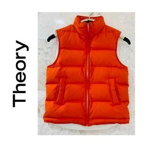 "THEORY {S} Puffer Vest Orange Zip Down ""Dina"""